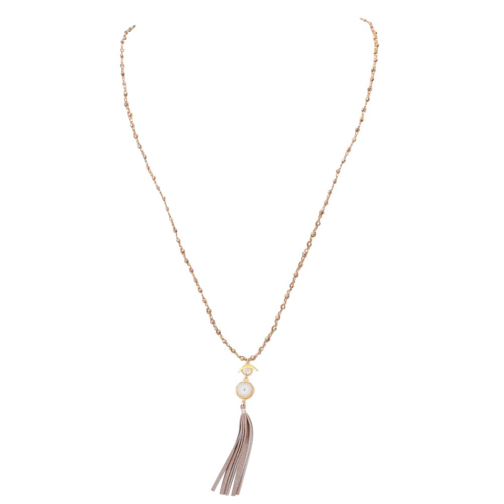 Chan Luu Solar Quartz Tassel Necklace JEWELRY Chan Luu Gold