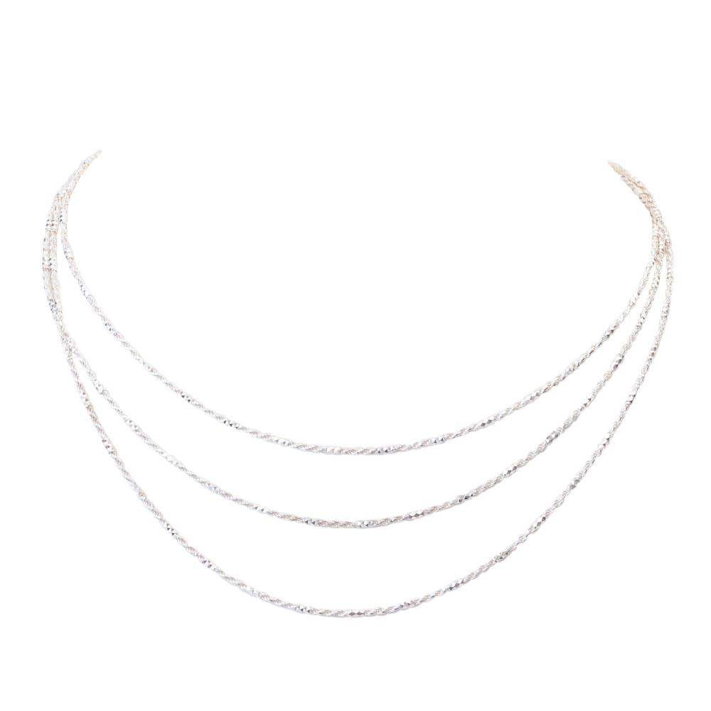 Argento Vivo Sterling Three Row Necklace JEWELRY Argento Vivo Silver