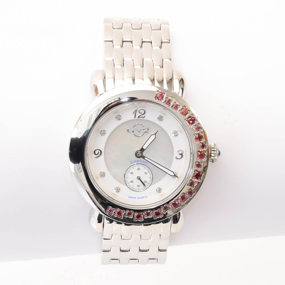GV2 by Gevril Marsala Crystal Bezel Stainless Steel Quartz Watch JEWELRY GV2 by Gevril Default Title