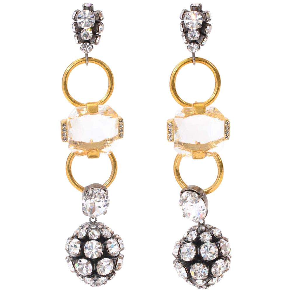 Marni Pave Diamond Loop Ball Drop Earrings JEWELRY Marni Gold