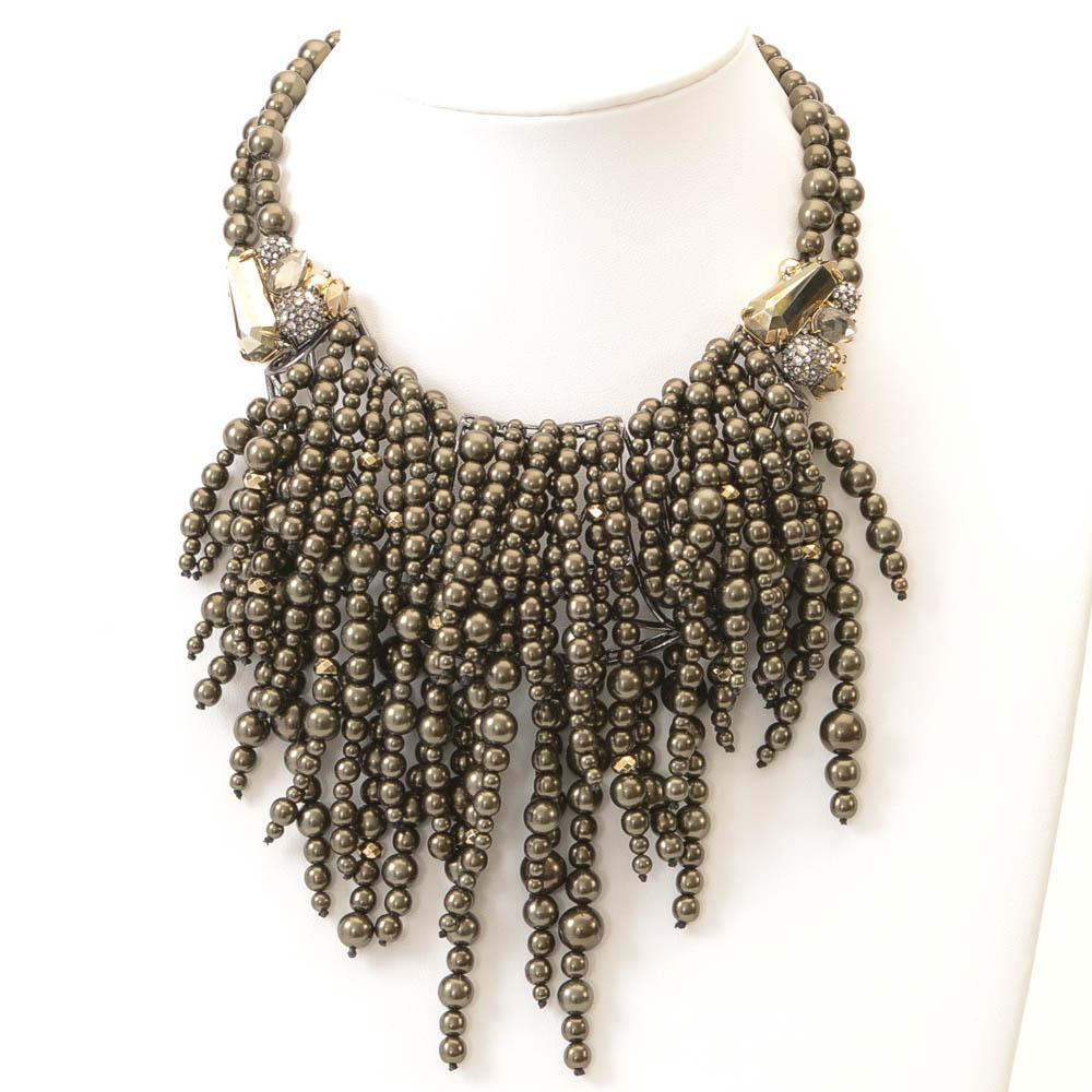 Alexis Bittar Cascading Pearly Pyrite Statement Necklace JEWELRY Alexis Bittar Default Title