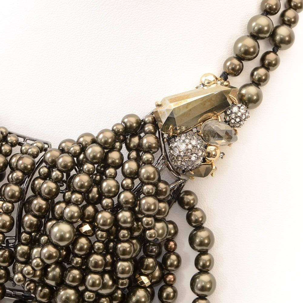 Alexis Bittar Cascading Pearly Pyrite Statement Necklace JEWELRY Alexis Bittar