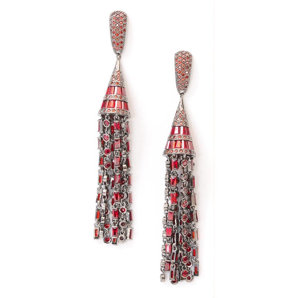 Fallon Monarch Deco Tassel Earrings JEWELRY Fallon Red
