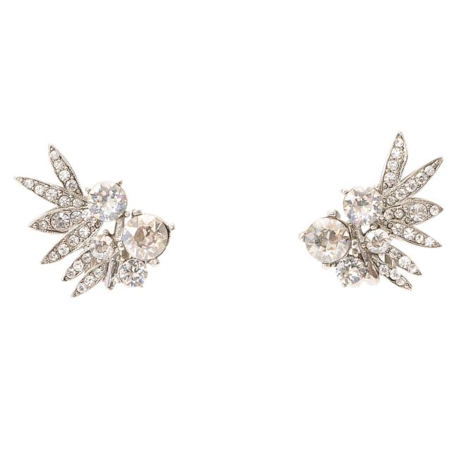 Oscar de la Renta Tropical Palm Crystal Clip-on Stud Earrings JEWELRY Oscar de la Rena