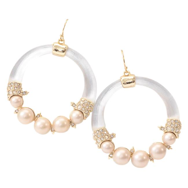 Alexis Bittar Pearl Lucite Crystal Encrusted Hoop Earrings JEWELRY Alexis Bittar