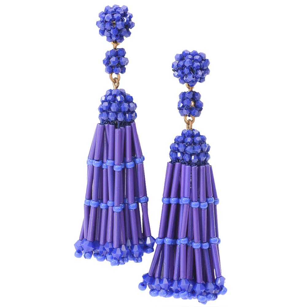 J.Crew Beaded Embellished Tassel Dangle Earrings JEWELRY J.Crew Blue