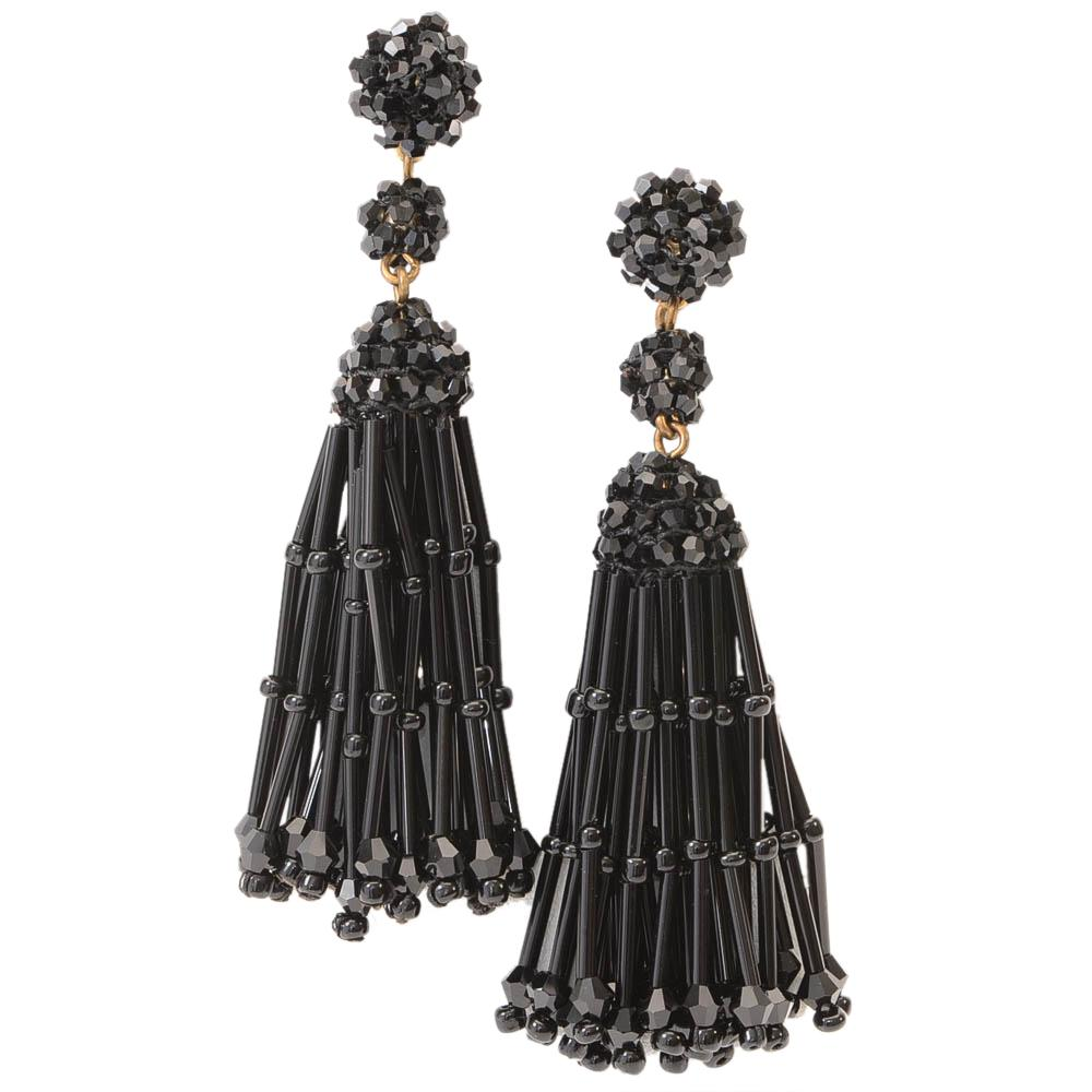 J.Crew Beaded Embellished Tassel Dangle Earrings JEWELRY J.Crew Black