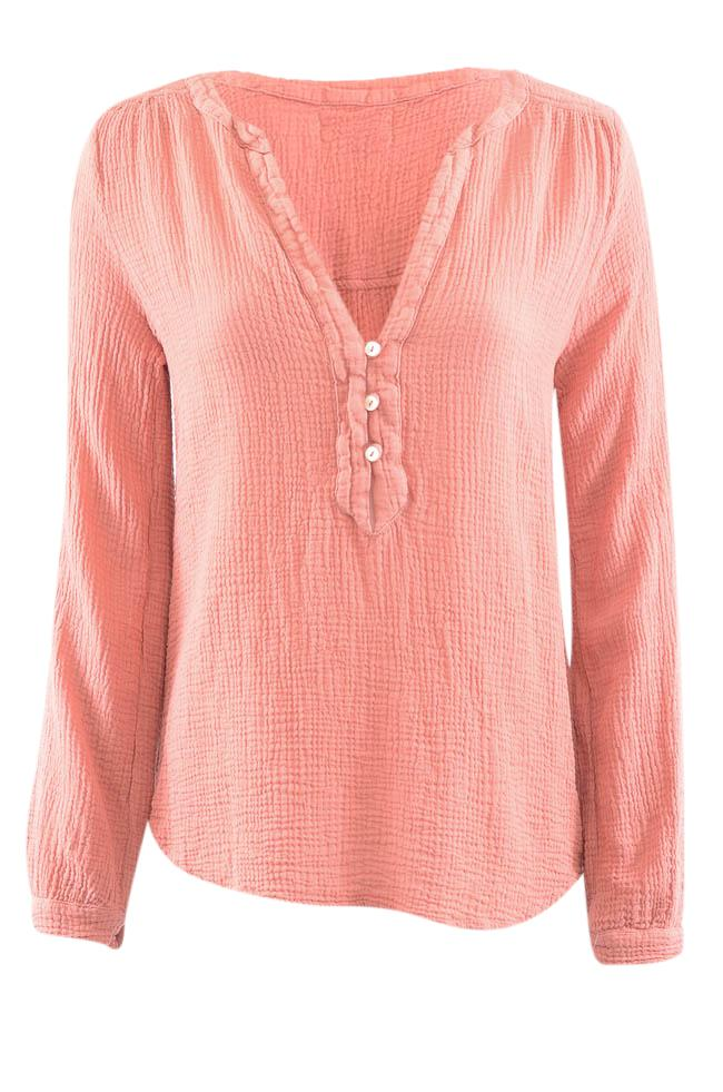 Velvet by Graham & Spencer Woven V-Neck Top - S APPAREL Velvet by Graham & Spencer S Pink