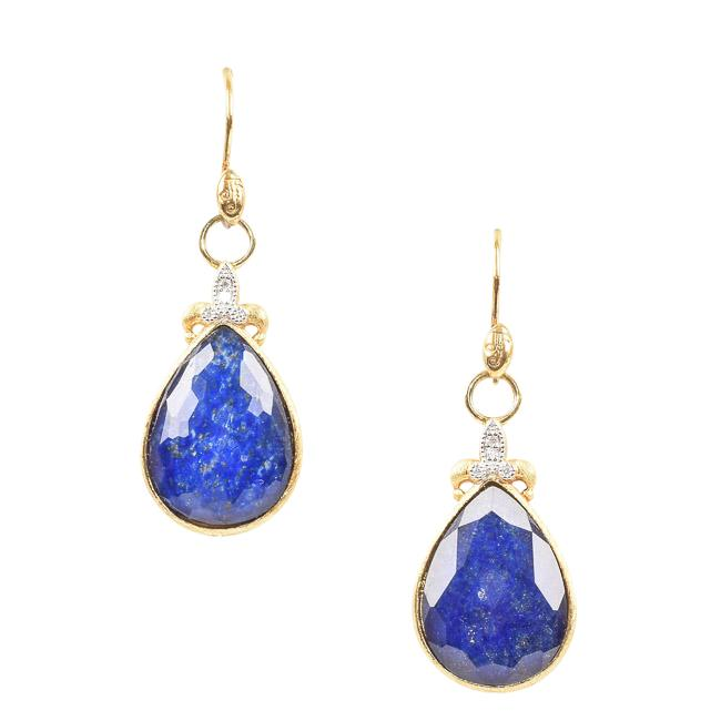 Jude Frances 18k Yellow Gold Dangle Earrings JEWELRY Jude Frances Blue
