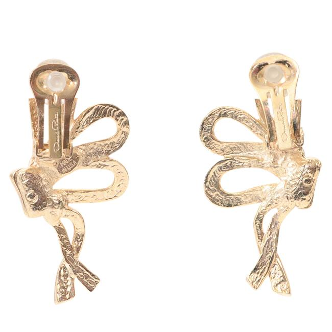 Oscar de la Renta Crystal Bow Clip-on Statement Earrings JEWELRY Oscar de la Renta