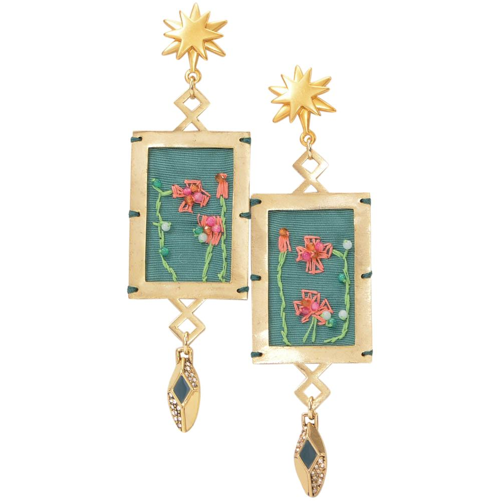 Lulu Frost Villa Hand-Embroidered Drop Earrings JEWELRY Lulu Frost Default Title