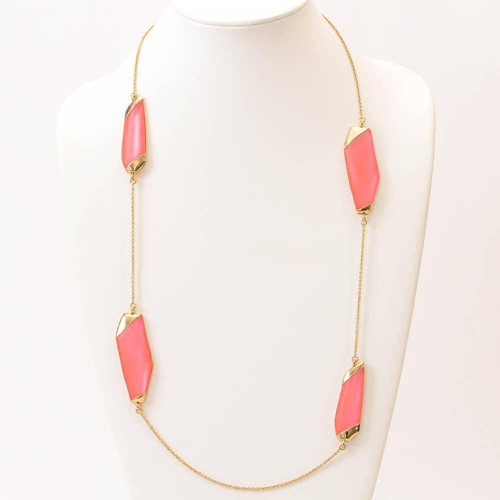 Alexis Bittar Asymmetric Lucite Statement Necklace JEWELRY Alexis Bittar Pink