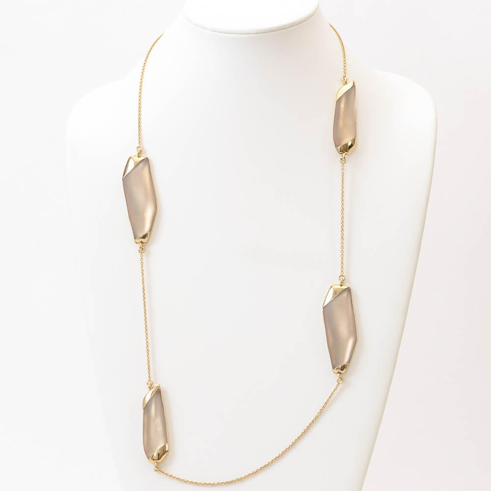 Alexis Bittar Asymmetric Lucite Statement Necklace JEWELRY Alexis Bittar Clear
