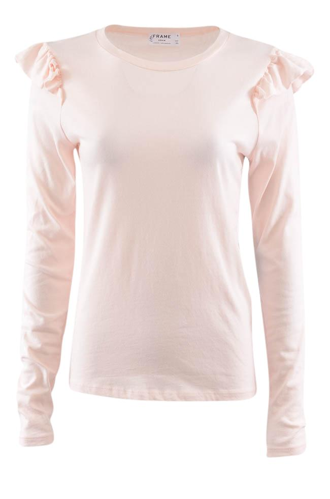 Frame Pullover Ruffled Long Sleeve Top - S APPAREL Frame S Pink