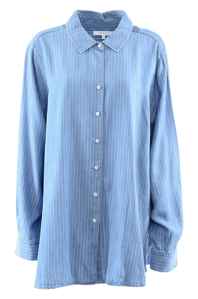 Foxcroft Pinstripe Button Down Denim Shirt - 24W APPAREL Foxcroft 24W Blue