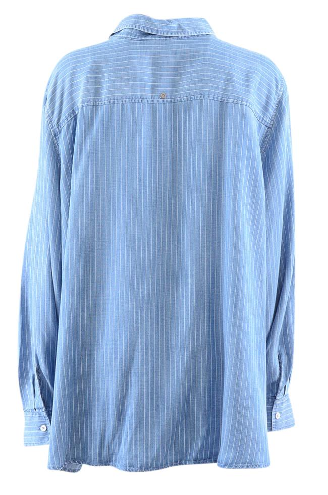 Foxcroft Pinstripe Button Down Denim Shirt - 24W APPAREL Foxcroft