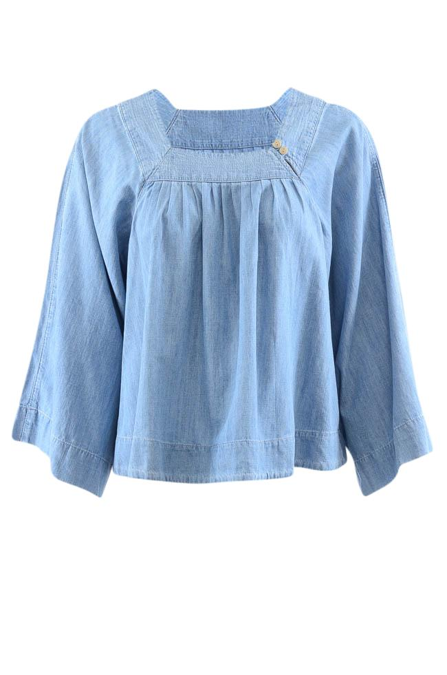 Madewell Square Neckline Woven Long Sleeve Tunic - S APPAREL Madewell S Blue