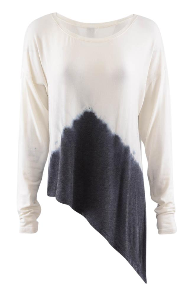 Go Couture Tie-Dye Long Sleeve Asymmetrical Tunic Top - M APPAREL Go Couture M White