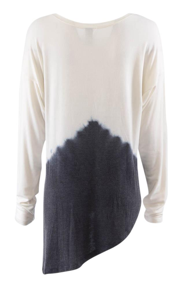 Go Couture Tie-Dye Long Sleeve Asymmetrical Tunic Top - M APPAREL Go Couture