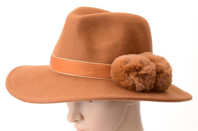 BCBGMaxAzria Faux Fur Pom Pom Panama Hat - One Size ACCESSORIES BCBGMaxAzria One Size Brown