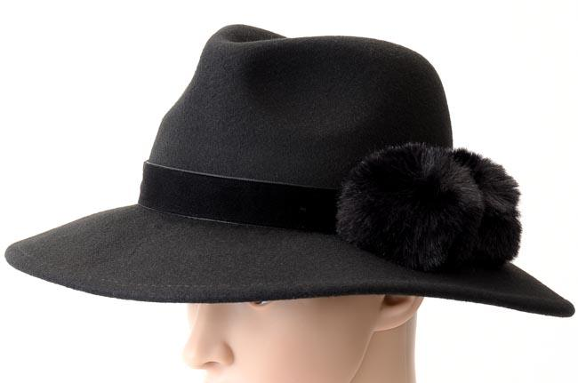 BCBGMaxAzria Faux Fur Pom Pom Panama Hat - One Size ACCESSORIES BCBGMaxAzria One Size Black