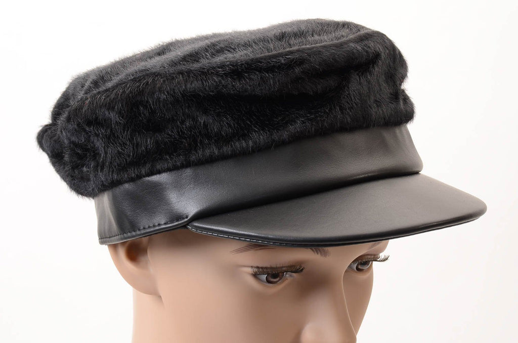 BCBGMaxazria Faux Pony Hair Military Cap - One Size ACCESSORIES BCBGMaxazria One Size Black