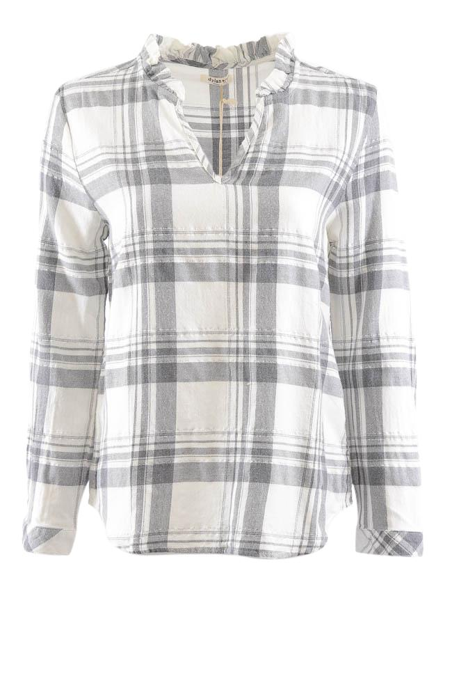 Dylan Long Sleeve Plaid V- Neck Top - S APPAREL Dylan S White