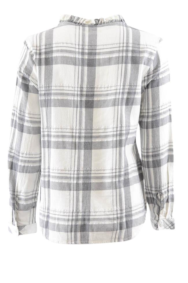 Dylan Long Sleeve Plaid V- Neck Top - S APPAREL Dylan