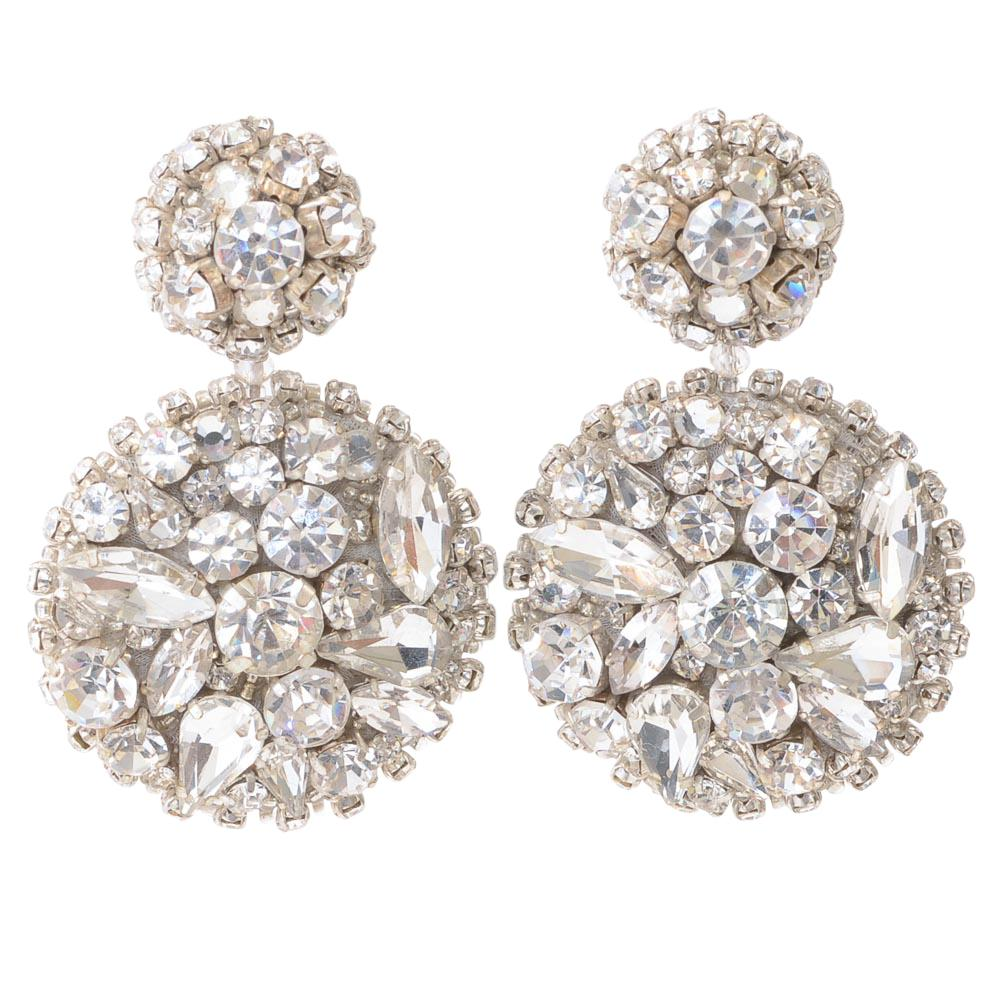 Oscar De La Renta Crystal Circle Dangle Earrings JEWELRY Oscar De La Renta Silver