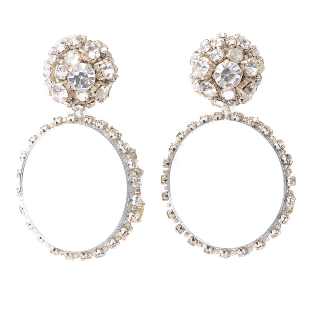 Oscar De La Renta Crystal Circle Dangle Earrings JEWELRY Oscar De La Renta