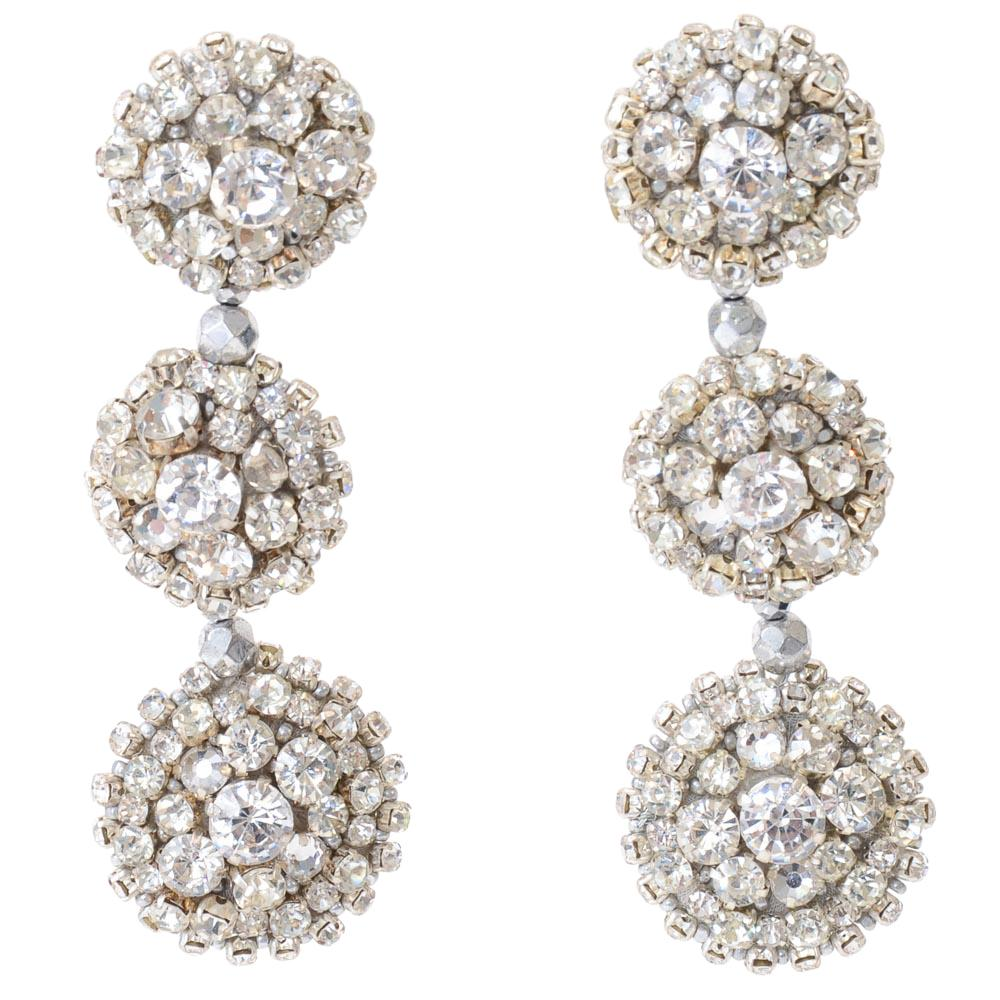 Oscar De La Renta Tiered Circle Dangle Earrings JEWELRY Oscar De La Renta Silver