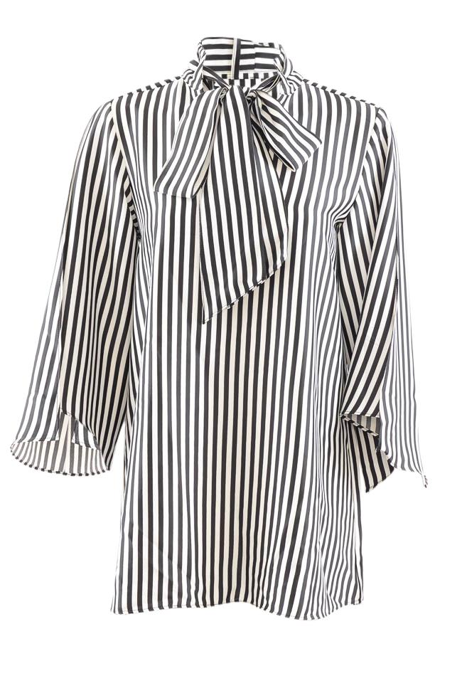 Kenneth Cole Striped Split Flutter Sleeve Tunic - S APPAREL Kenneth Cole S Black