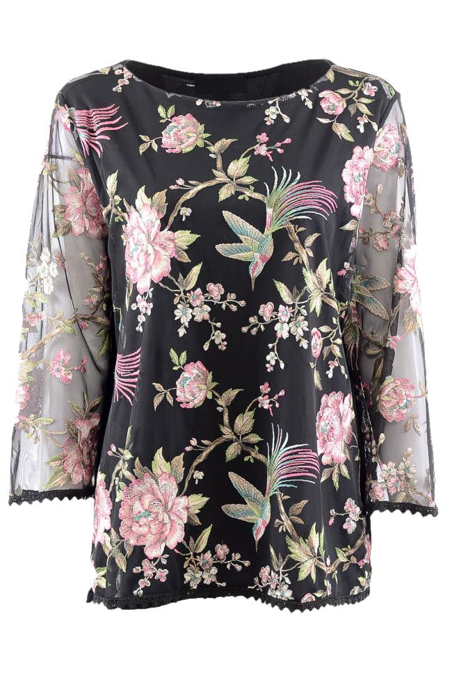 Karen Kane Floral Embroidered 3/4 Sleeve Top - XL APPAREL Karen Kane XL Black