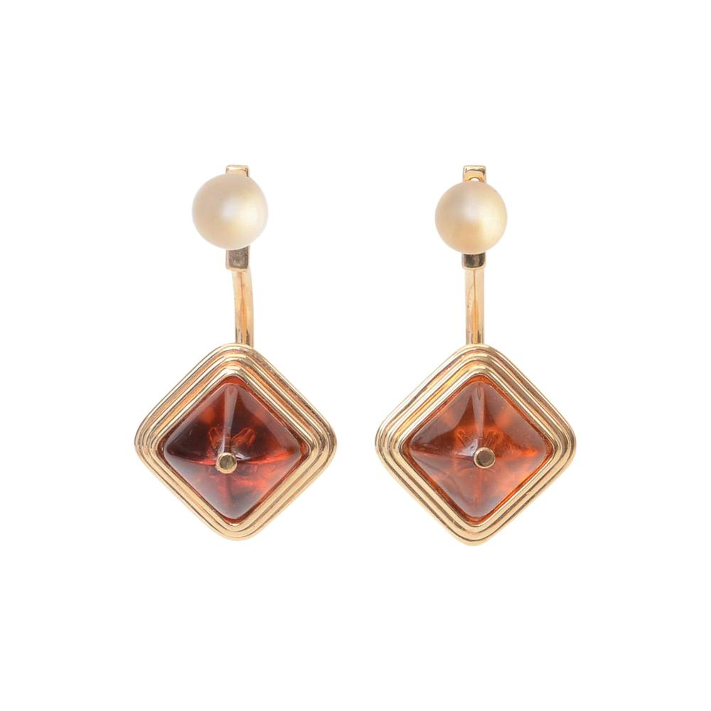 Lalique Charmante 925 Sterling Amber Jacket Earrings JEWELRY Lalique Orange