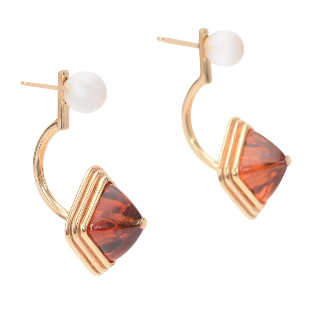 Lalique Charmante 925 Sterling Amber Jacket Earrings JEWELRY Lalique