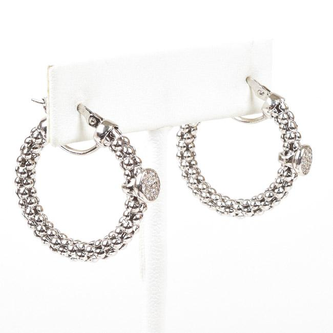 Meshmerise Diamond Accent 14k White Gold Hoop Earrings JEWELRY Meshmerize