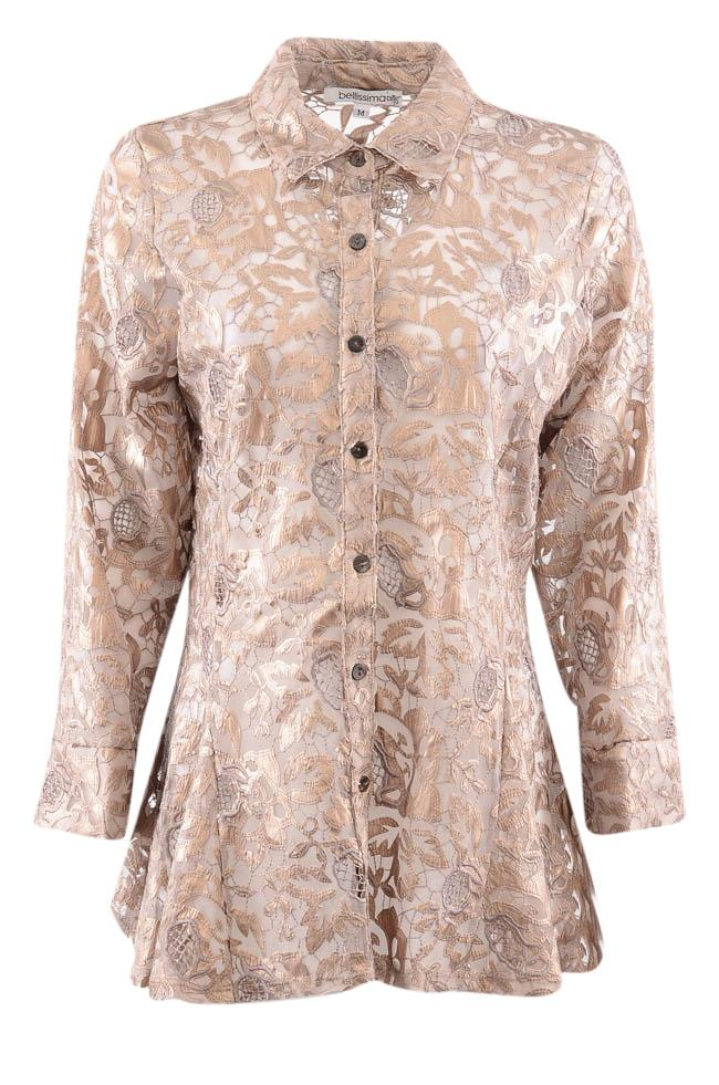 Bellissima Floral Applique Button Down Blouse - M APPAREL Bellissima M Brown