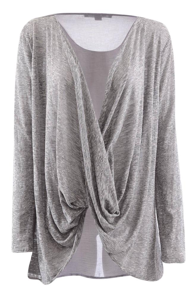 Astars Long Sleeve Draped Twisted Open Front Top - M APPAREL Astars M Gray