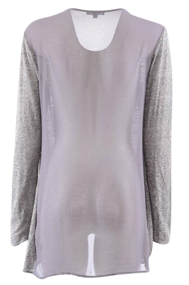 Astars Long Sleeve Draped Twisted Open Front Top - M APPAREL Astars