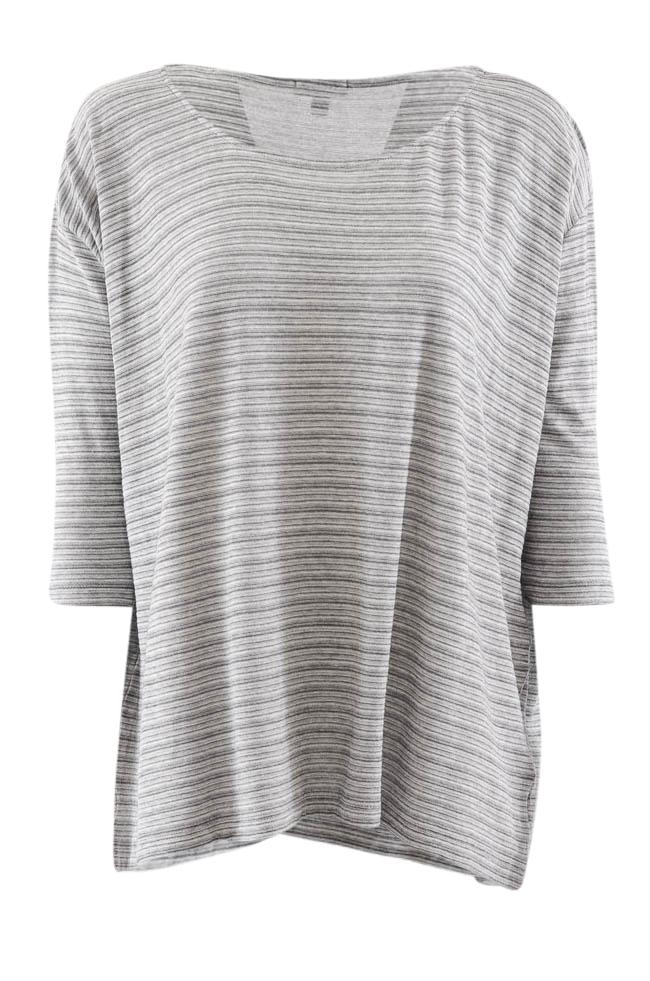 Lilla P Scoop Neck Striped 3/4 Sleeve Top - XS APPAREL Lilla P XS Gray