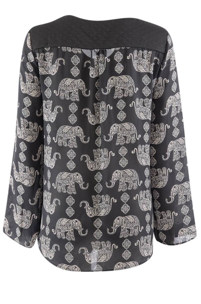 Kay Celine Sheer Printed Long Sleeve Tunic Top - M APPAREL Kay Celine