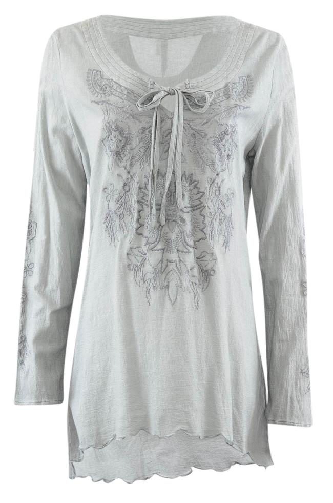 Monoreno Embroidered Asymmetrical Long Sleeve Tunic Top - M APPAREL Monoreno M Gray