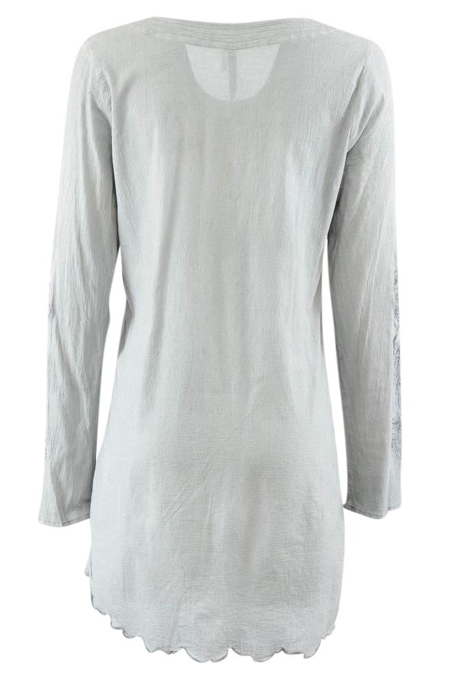 Monoreno Embroidered Asymmetrical Long Sleeve Tunic Top - M APPAREL Monoreno