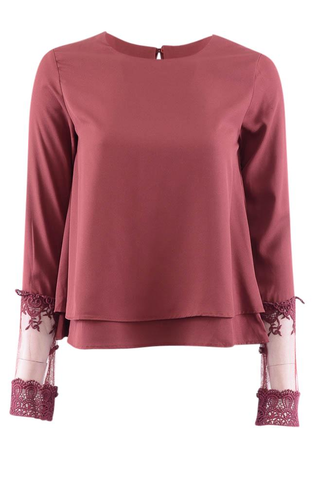 Walter Baker Tiered Long Sleeve Top - XS APPAREL Walter Baker XS Red
