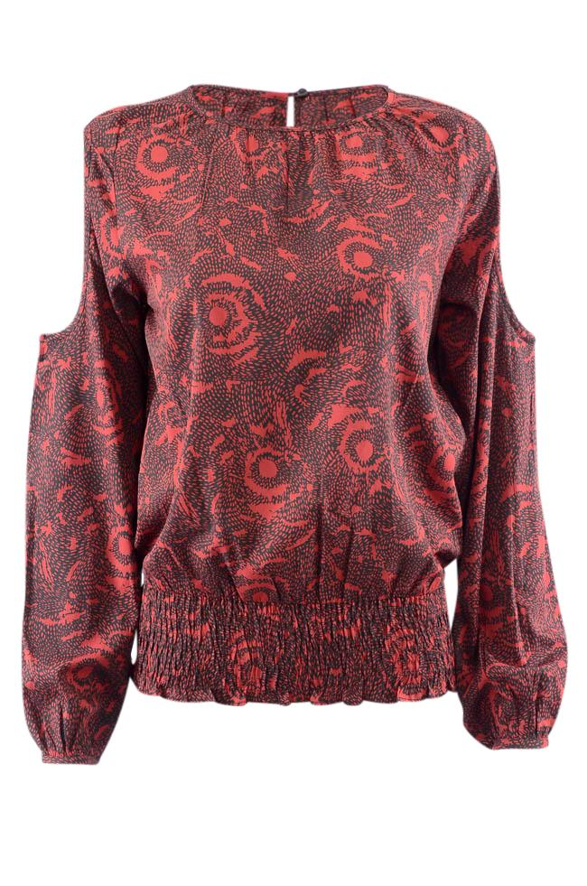 Walter Baker Geometric Print Cold Shoulder Top - M APPAREL Walter Baker M Red