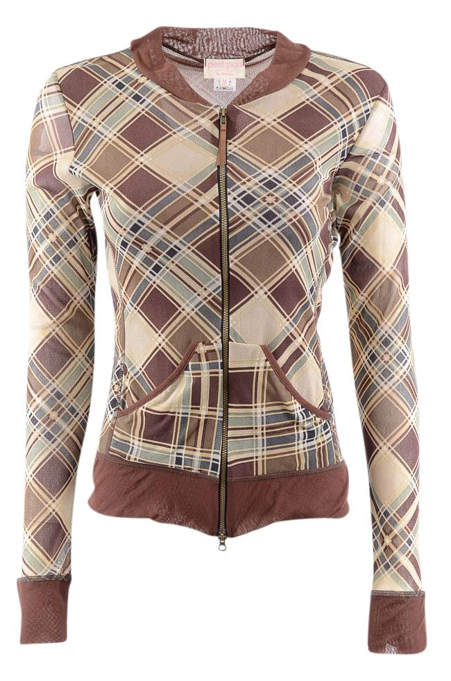 Petit Pois by Viviana Plaid Zip Up Long Sleeve Top - M APPAREL Petit Pois by Vivana M Brown