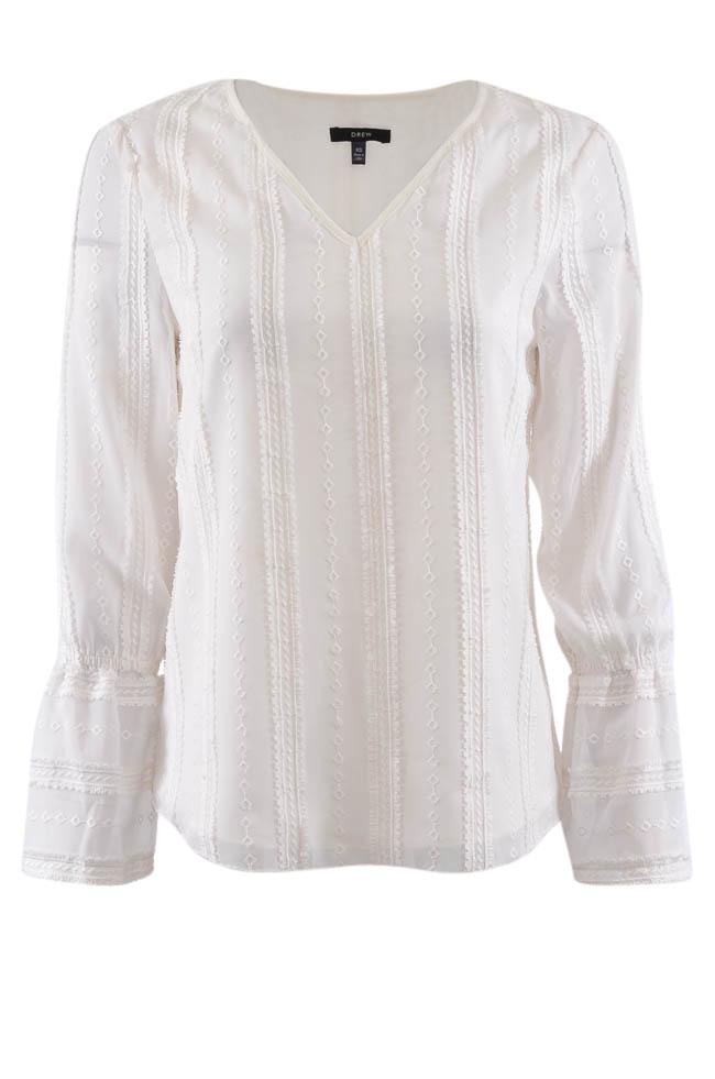 Drew Geometric Embraided V-Neck Blouse - XS APPAREL Drew XS White