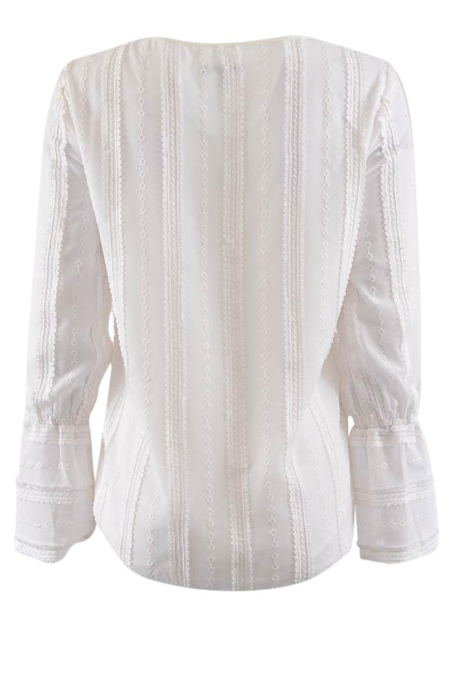 Drew Geometric Embraided V-Neck Blouse - XS APPAREL Drew