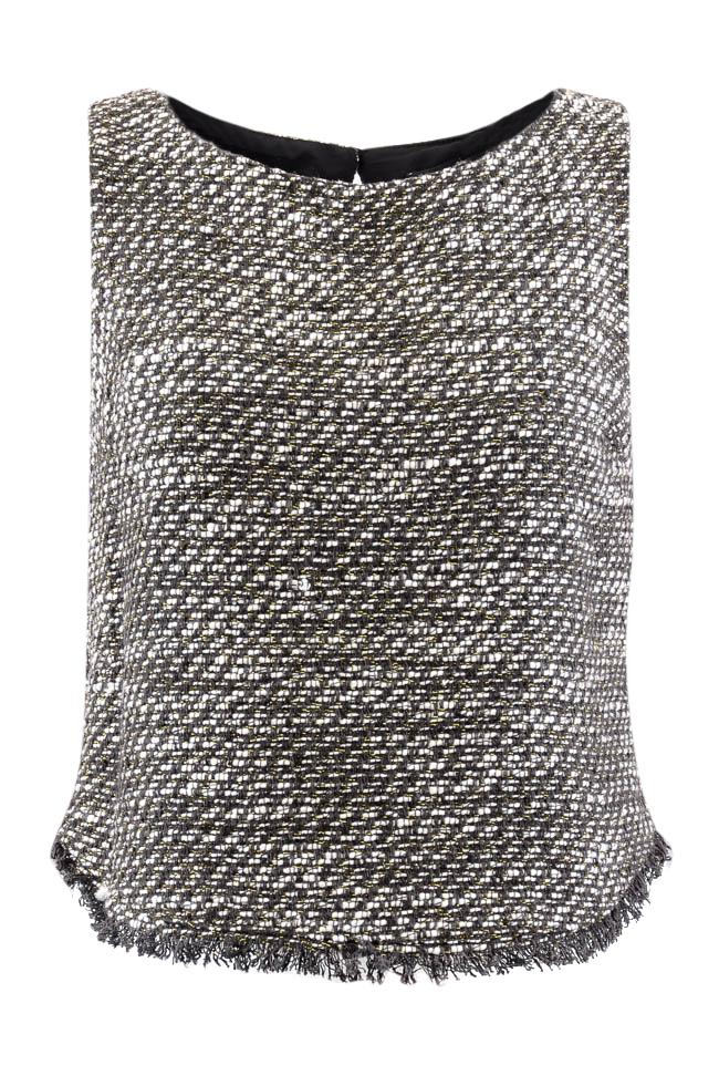 Drew Scoop Neck Frayed Tweed Sleeveless Top - S APPAREL Drew S Black