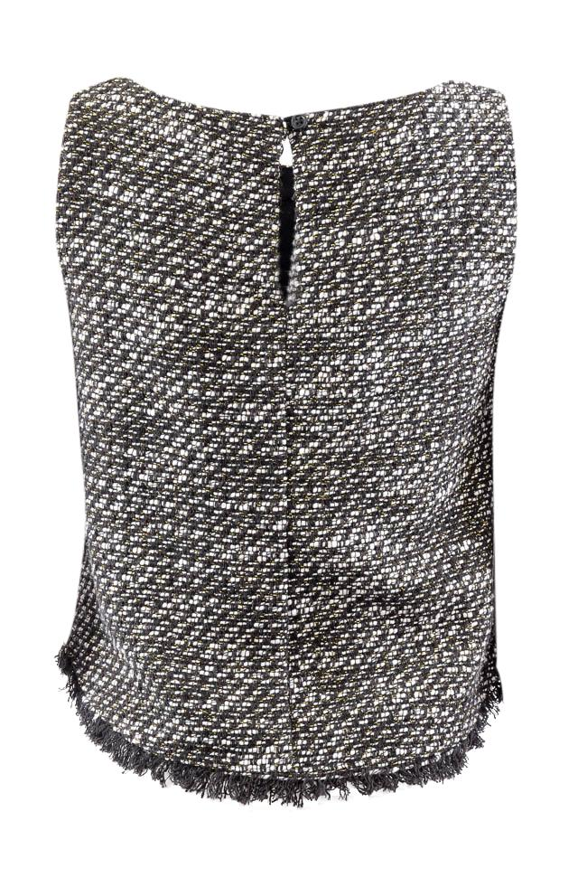 Drew Scoop Neck Frayed Tweed Sleeveless Top - S APPAREL Drew
